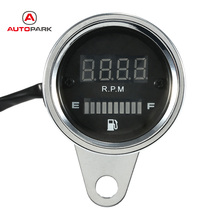 DC 12V Motorcycle 2 in 1 Tachometer RPM Shift Meter Fuel Gauge Meter with Digital LED Indicator Motorbike Instrument(China)