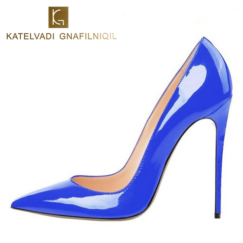 Brand Womens Shoes High Heels Women Pumps 12CM Heels Blue Shoes Woman Pumps Sexy Pointed Toe High Heels Wedding Shoes B-0056<br>