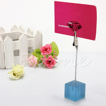 1PC Desk Cube Wire Card Clip Picture Memo Note Photo Holders Wedding Table Stand(China)
