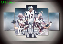 AtFipan 5 Pcs New England Patriots Footballer Designed Sports Team Modular Wall Oil Painting On Canvas Pictures For Living Room(China)