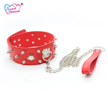Buy Sweet Dream Adult PU Leather BDSM Fetish Dog Chain Bondage Collar Rivet Skull Design Slave Neck Cuff Sex Toys Couple DW-198