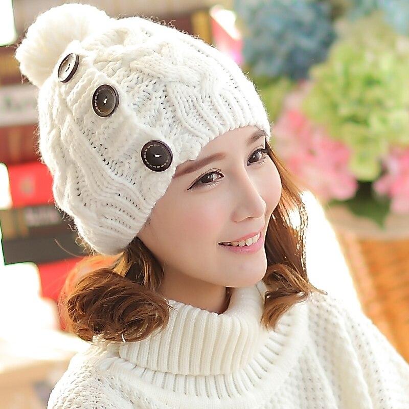 Cute Women Autumn Winter 100% Handmade Knitted Beanie Buttons Hat CapÎäåæäà è àêñåññóàðû<br><br>