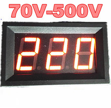 "by dhl/fedex 100pcs/lot  0.56"" 2bits two wire AC 70V-500V Red LCD Digital  Voltmeter Voltage Panel volt Meter For Motorcycle Car"