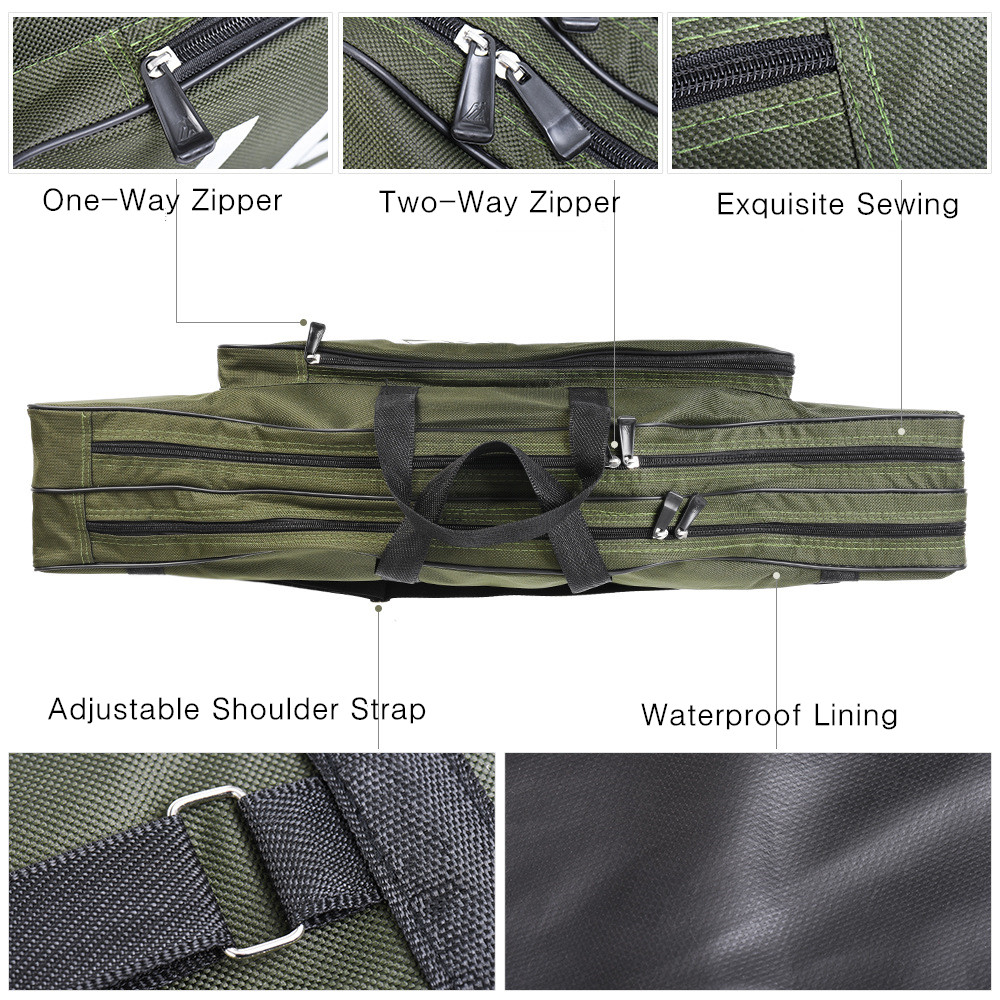 80cm Double Layer Canvas Fishing Bag Outdoor Collapsible Portable Fishing Rod Carrier Fishing Pole Tools Reel Gear Storage Case (8)