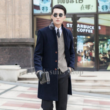 Custom made 2017 New design new arrival Navy blue coat male woolen overcoat slim outerwear trench(China)