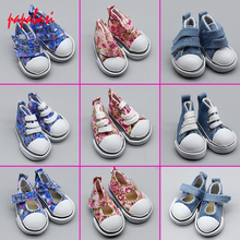5cm Doll Printing Shoes Denim Sneakers for BJD dolls,Fashion Denim Canvas Mini Toy Shoes 1/6 Bjd For handmade Doll(China)