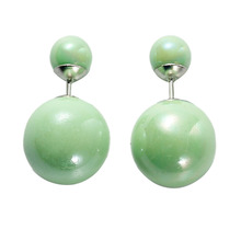 Doreen Box Pearl Created Double Sided Ear Post Stud Earrings Ball Grass Green AB Color 8mm Dia. 16mm Dia.,1 Pair