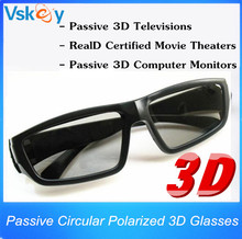 2pcs Circular Polarized Passive 3D Glasses For Passive 3D Televisions RealD Movie Real 3D Theaters 3D TV Cinema System(China)