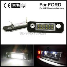 Perfect Fit White 18-LED License Plate Light Lamps For Ford Fusion Fiesta Mondeo (Fits: Ford Fiesta)(China)