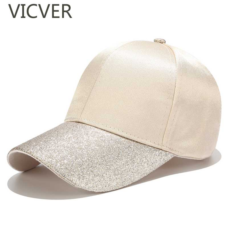 New Ponytail Baseball Cap Women Glitter Brim Trucker Caps Fashion Ladies Solid Color Satin Dad Hats Casual Summer Snapback Hat(China)