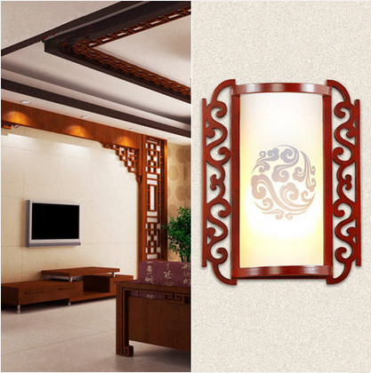 Modern chineses classical red carved wood art wall lamps Rural white PVC shade E27 LED lamp for bedroom&amp;porch&amp;stairs LMJBD001<br><br>Aliexpress