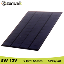 SUNWALK 5pcs 5W 12V Solar Cell Panel Module 410mAh Polycrystalline PET Mini Solar Panel for Solar System and Test 210*165mm