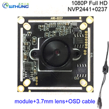 CCTV Mini Camera Module 1080P 2.0MP 4 in 1 AHD-H/CVI/TVI/CVBS 0237+NVP2441 1/2.8''CMOS Sensor +OSD cable+HD 3.7mm pinhole lens