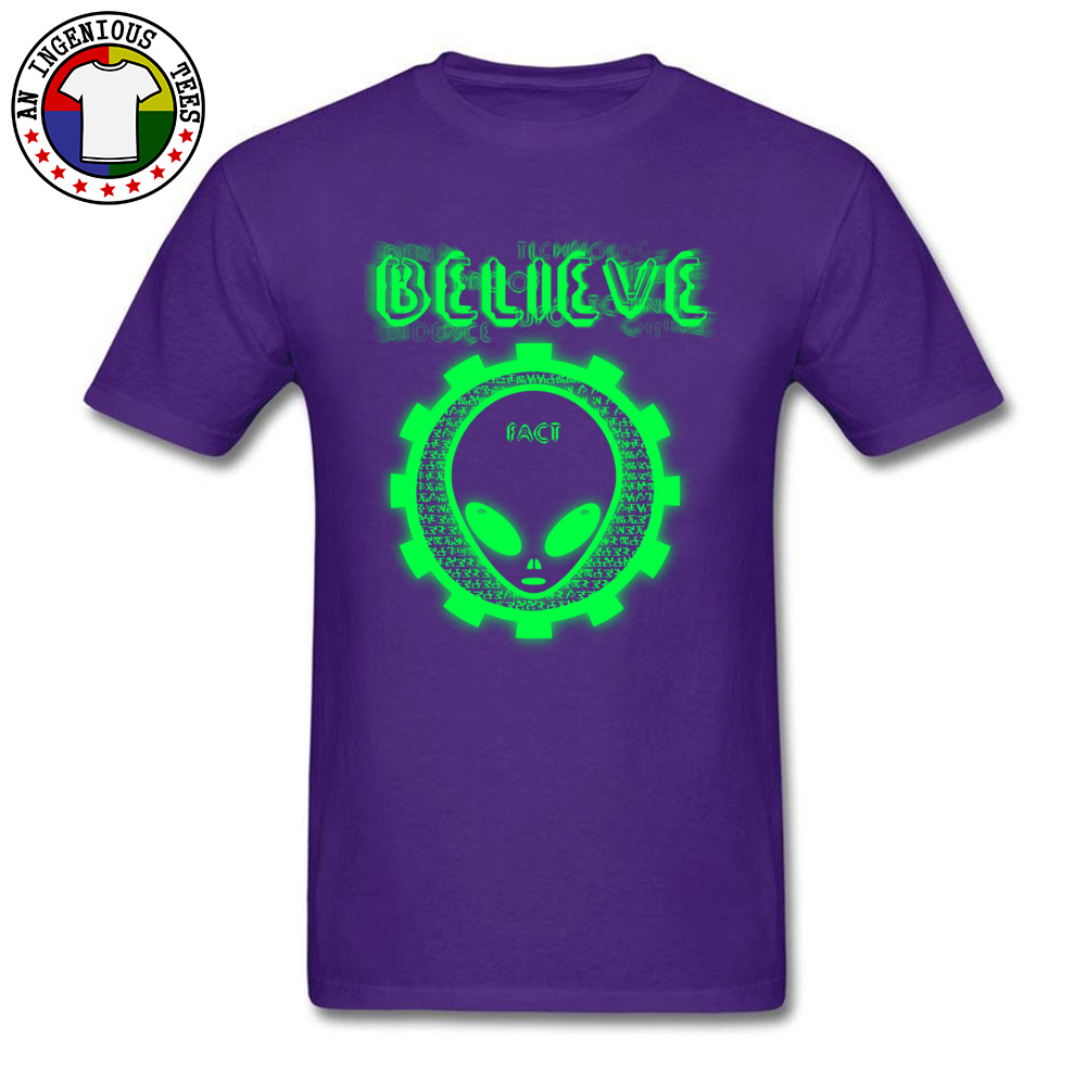 Believe Alien Fact Men Fashionable Tops Tees Crew Neck Summer 100% Cotton Top T-shirts Family Short Sleeve Tops Shirts Believe Alien Fact purple