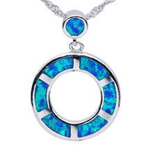 Fashion Blue Circle Brand Opal Gem 925 Sterling Silver Pendants & Necklace Hot Sale Top Quality Unisex Jewelry for Man and Women