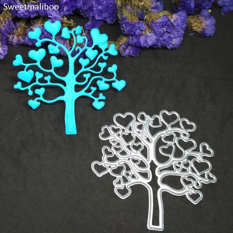 Metal Wishing Love Heart Tree Cutting Dies Scrapbook Stencils  Die Cutter Template Paper Cards Album Decoration Embossing Mold