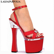 LAIJIANJINXIA comfortable thick heel 18cm high heel shoes sandals spool heels 7 inch high heels(China)
