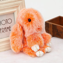 Hot Double Color Natural Rabbit Keychain Women Bag Pendant Cute Bunny Keychain Phone Key Chain Handbag Fur Pompom Ball Key Ring(China)