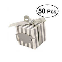 50 PCS Stripes Paper Graduation Candy Treat Boxes with Doctoral Cap Card Tag Gift Box for Graduation Season Party Favors(China)