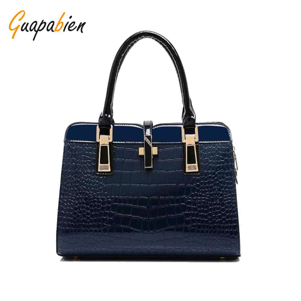 2017 Women Handbags New Bright Leather Crocodile Shoulder Nags Pu Leather 10 Colors Tote Bag Purse Bag Ladies New Arrival<br>