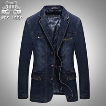 AFS JEEP Brand Clothing 2017 New Denim Blazer Men Casual Cotton Cowboy Suit Jacket Blue Blazer