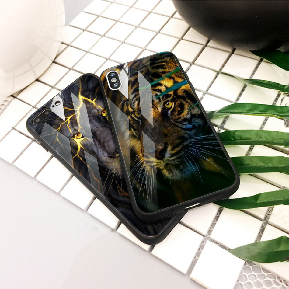 TOMKAS Animal Glass Case For iPhone X 8 7 10 6 Cover Phone Cases For iPhone X 7 8 6 6s Plus Case Luxury Cute TPU PC Covers Coque (17)