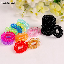 Faroonee 10 Pieces/lot Candy Color Telephone Wire Cable Elastic Hair Bands Rope Women Ladies Female Girls DIY Hair Accessories