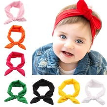 8pcs/lot Children Bunny Ear Headband Scarf Hair Head Band Cotton Bow Elastic Knot Headband Rabbit Girls Hair Accessories KT2