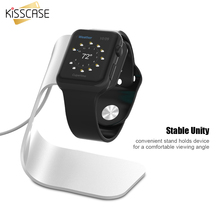 KISSCASE Luxury Aluminum Alloy Stand Holder For Apple Watch Charging Support For iWatch Convenient Cable Hole Silver Smart Watch(China)