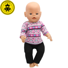 Purple Sweater + Black Pants Suit Dress fit 43cm Baby Born Zapf Doll Clothes and 17inch Doll Accessories Handmade 188