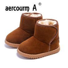 aercourm A 2017 Girls Boots Winter Warm Children Snow Boots Shoes Plush Thicker Boys Snow Boots Shoes Baby Toddler Shoes 21-30(China)