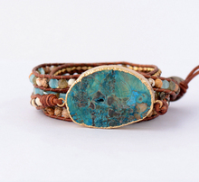 Women Leather Bracelet Unique Mixed Natural Stones Gilded Stone Charm 5 Strands Wrap Bracelets Handmade Boho Bracelet Dropship(China)