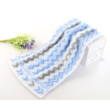 Soft Blue Cotton Absorbent Face Towel Wave Striped Practical Bathroom Home Textile Towel 33x73cm(China)