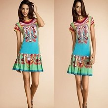 Free Shipping 2013 Hot Selling Europe Fashion Summer New Design Sweet Fancy Flower Printed Knit Stretch Pleated Slim Dress(China)