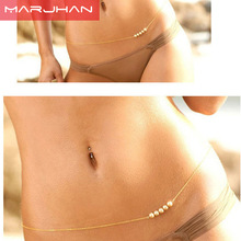 bohemian fashion women jewelry trends hot sexy imitation pearl waist gold silver women bijoux jewellery(China)