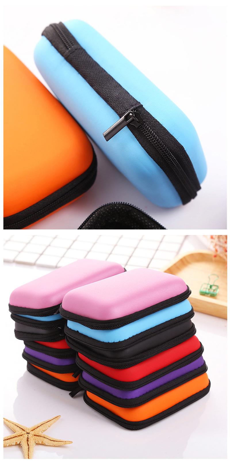 prativerdi Zippered Lock Hard Earphone Case EVA Leather Headphone Storage Bag Protective Usb Cable Portable travel Organizer7