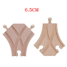 6.5cm 2pcs Single Curved 2 Way Switch Tracks Wooden Train Tracks Set Blocks Toys Railway Accessories bloques de construccion