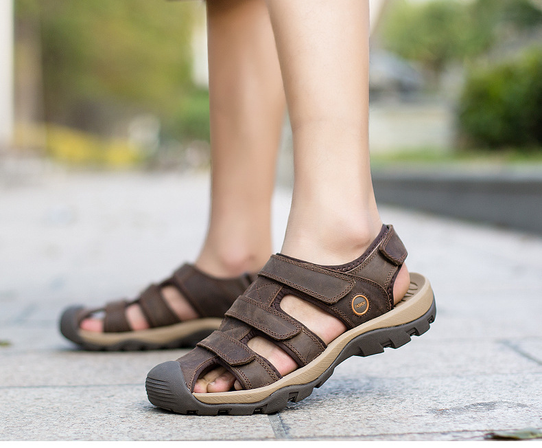 Summer Man Sandals Beach Shoes 2018 High Quality Genuine Leather Prevent Slippery Wear-resisting Outdoor Sandals Large Size 46 24 Online shopping Bangladesh