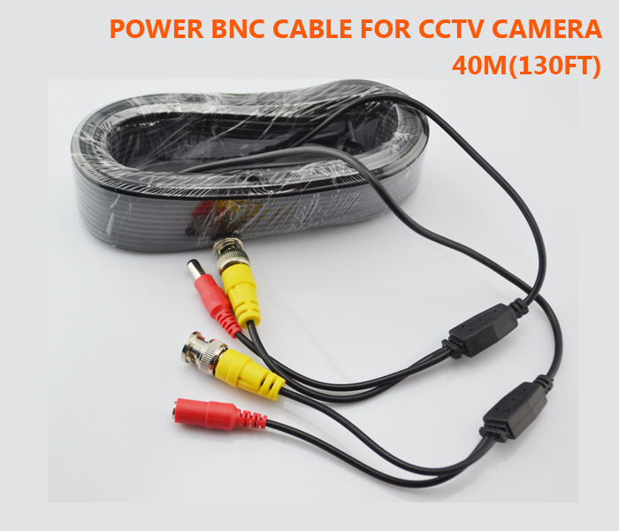 Free Shipping New BNC Video Power Cable 40m 130ft BNC + DC Plug Connector for CCTV Security Cameras<br><br>Aliexpress