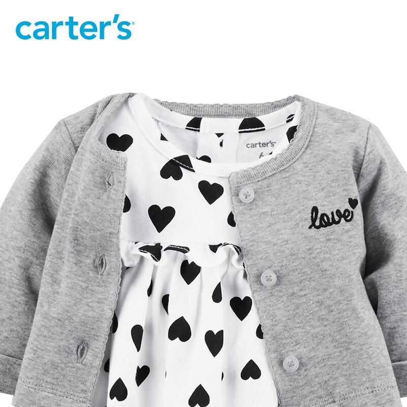 2 pcs vêtements ensembles doux coeur body robe avec un cardigan de Carter bébé fille coton Printemps Été Automne 126H362 12