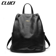 CLUCI Women's Backpack Fashion Genuine Leather Black/Pink/Purple/Grey/Red Serpentine Ladies Bags Daypacks for School Students