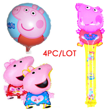 4pc/lot pink pig cartoon round balloon inflatable helium balloon aluminum balloons decorated children's birthday party supplies(China)