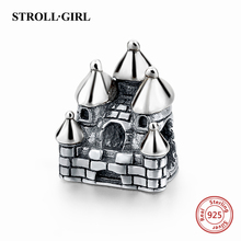 925 Sterling Sliver Charms Castle House charms Beads Fit Original pandora Bracelet Berloques Authentic pendant DIY Jewelry Gifts(China)