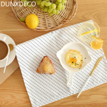 DUNXDECO 3PCS 38.5x58.5CM Modern Nordic White Black Lines Geometric Artistic Cotton Table Placemat Home Table Napkin Photo Pro