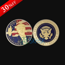 2017 2pcs Golden Donald Trump Make Great President America Commemorative Challenge Coin For Souvenir American Coin free shipping