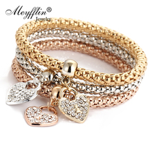 3PCS Set Crystal Bracelets & Bangles 2017 Gold Wrap Charm Bracelets Femme for Women Men Fashion Jewelry Multilayer Bijoux(China)