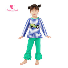 2017 Kaiya Newest Toddler Kids Boutique Clothes Wholesale Fall Clothing Girls Outfitst Birthday Gift Baby Summer Pajamas Sets(China)