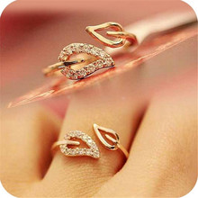 Rings For Women New (Gold) Two Anti-drilling Leaves Fashion Korean Female Couple Rings Jewelry Influx Of People Free Shipping