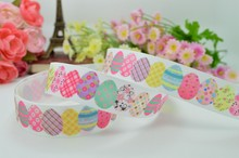 "Free shipping 7/8"" 22mm Easter painted eggshell Printed grosgrain ribbon hairbow DIY handmade wholesale OEM 50YD"
