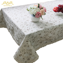 ROMORUS European Hot Sale Universal Linen Coffee Tablecloths/ Table Cover with Small Floral Lace for Picnic or Wedding RMR271453(China)